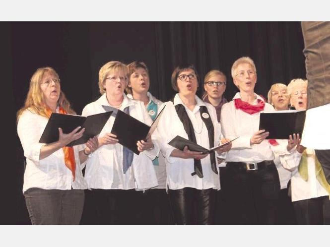 """Ein abwechslungsreiches Programm gestalteten am Samstagabend die Chöre bei """"Warstein singt"""" auf der Bühne der Aula in Belecke. - Foto: Cramer"""
