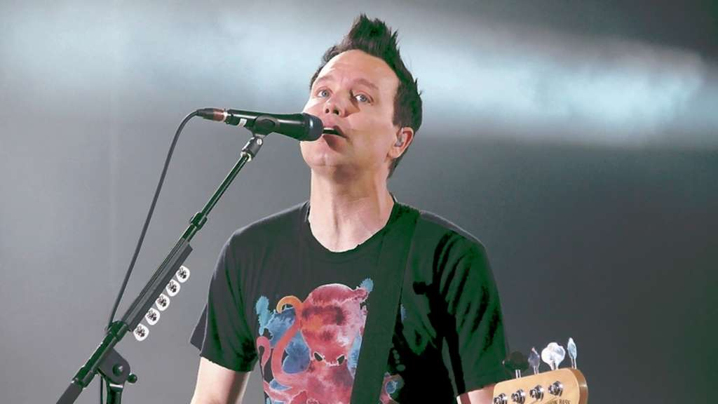 Ein Sprachrohr der US-Band Blink-182 beim Essener Konzert: Bassist Mark Hoppus ▪