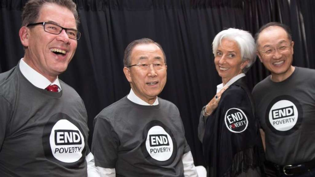 Gerd Müller (l-r), Ban Ki Moon, Christine Lagarde und Jim Yong Kim in Washington. Foto: Stephen Jaffe