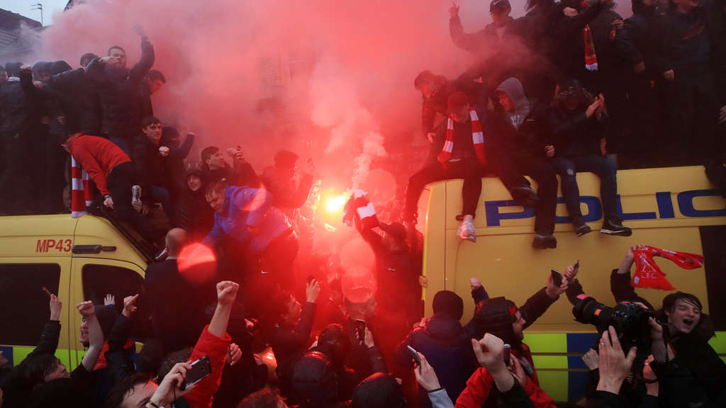 FC Liverpool - AS Rom: Die Fans vor dem Match.