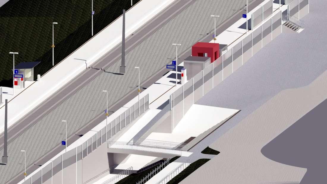 So soll der Bahnhaltepunkt Welver im Jahr 2025 aussehen; hier der Blick von der Ladestraße aus.