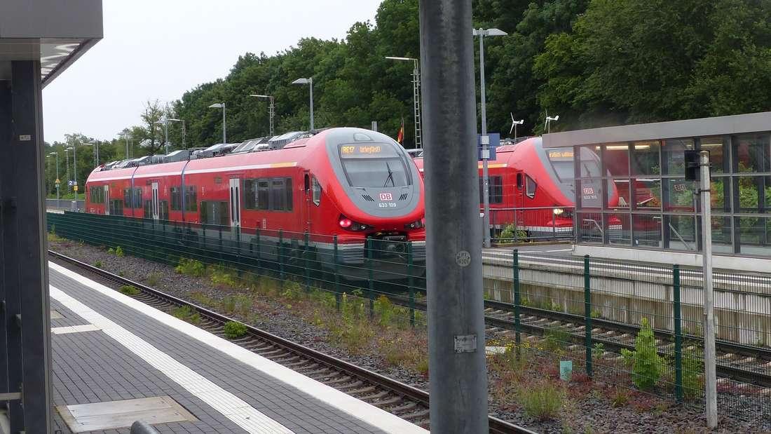 Zwei Züge im Bahnhof Wickede